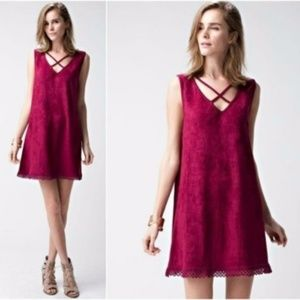 NEW Faux Suede Shift Mini Lace Hem Dress Burgundy